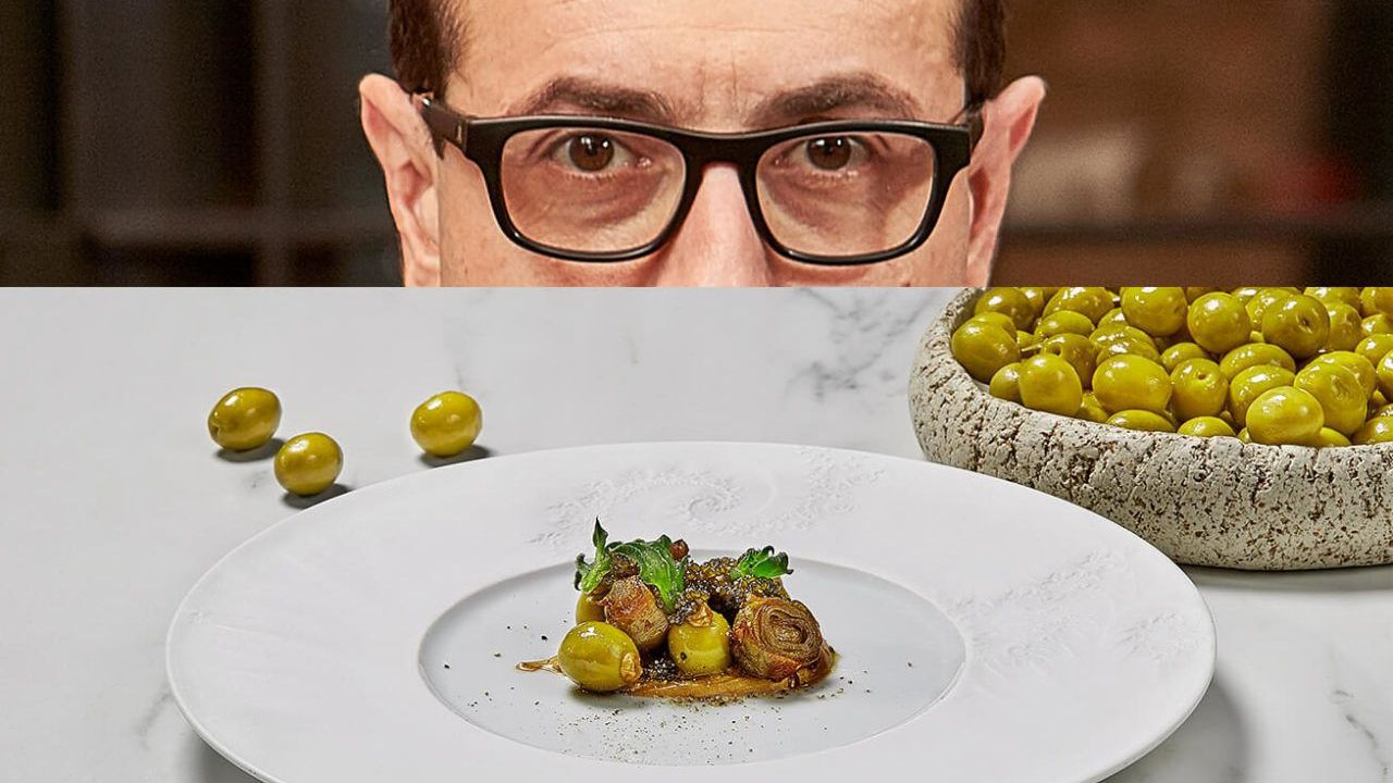 Ricard Camarena. Aceituna Manzanilla, alcachofas y caviar intercambio. El dos estrellas Michelin valenciano juega con los productos locales e ingredientes más complejos.