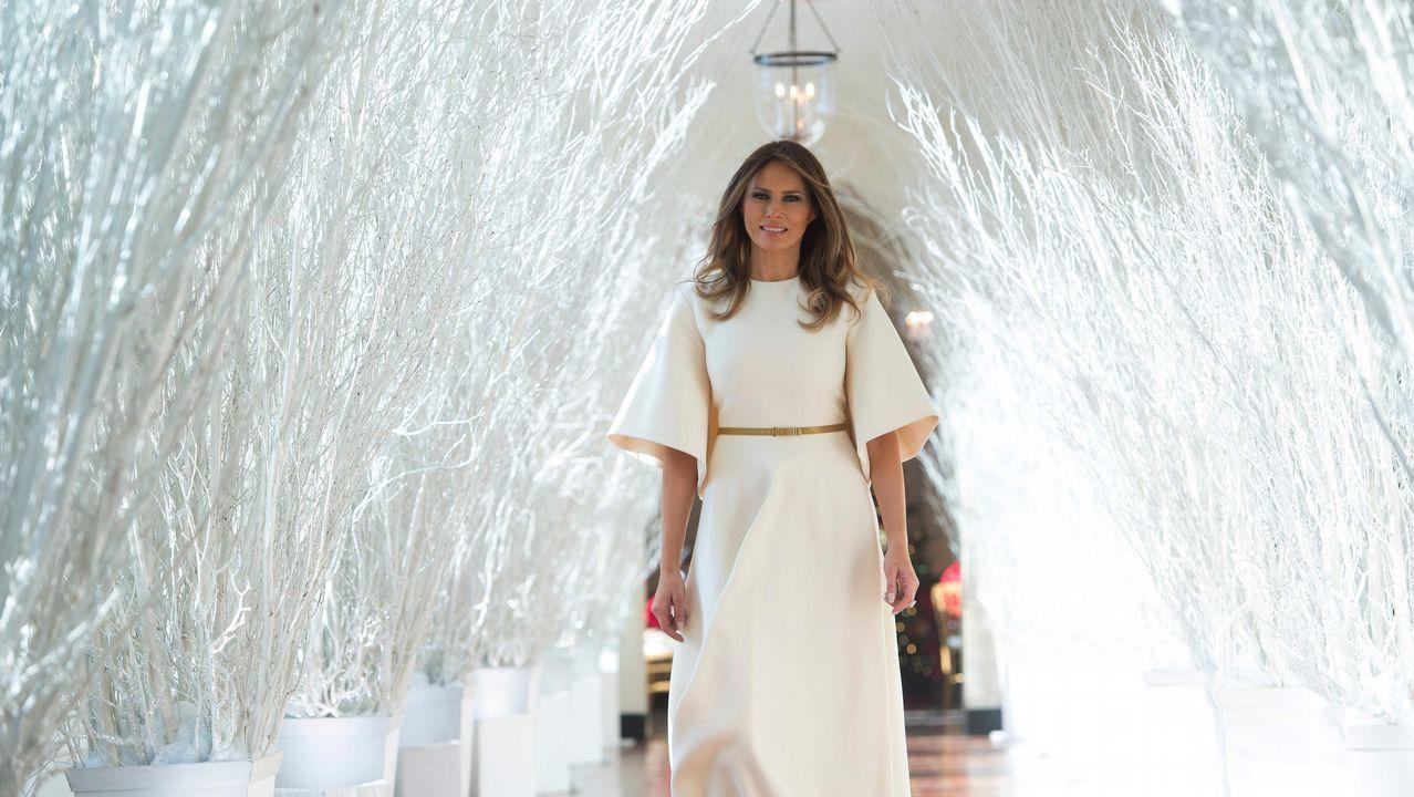 La excesiva decoración navideña de los Trump en la Casa Blanca.Donald y Melania Trump