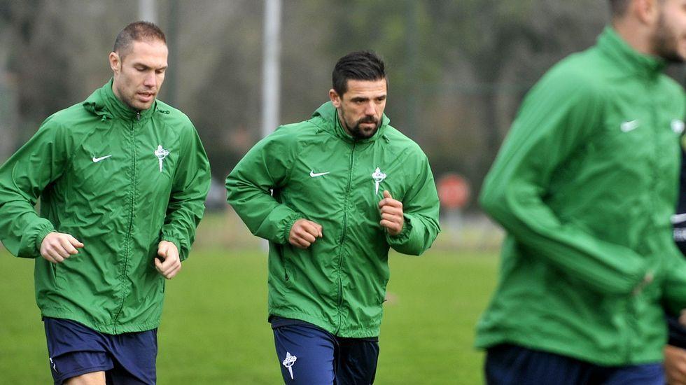 Nacho Novo, durante un entrenamiento en Ferrol