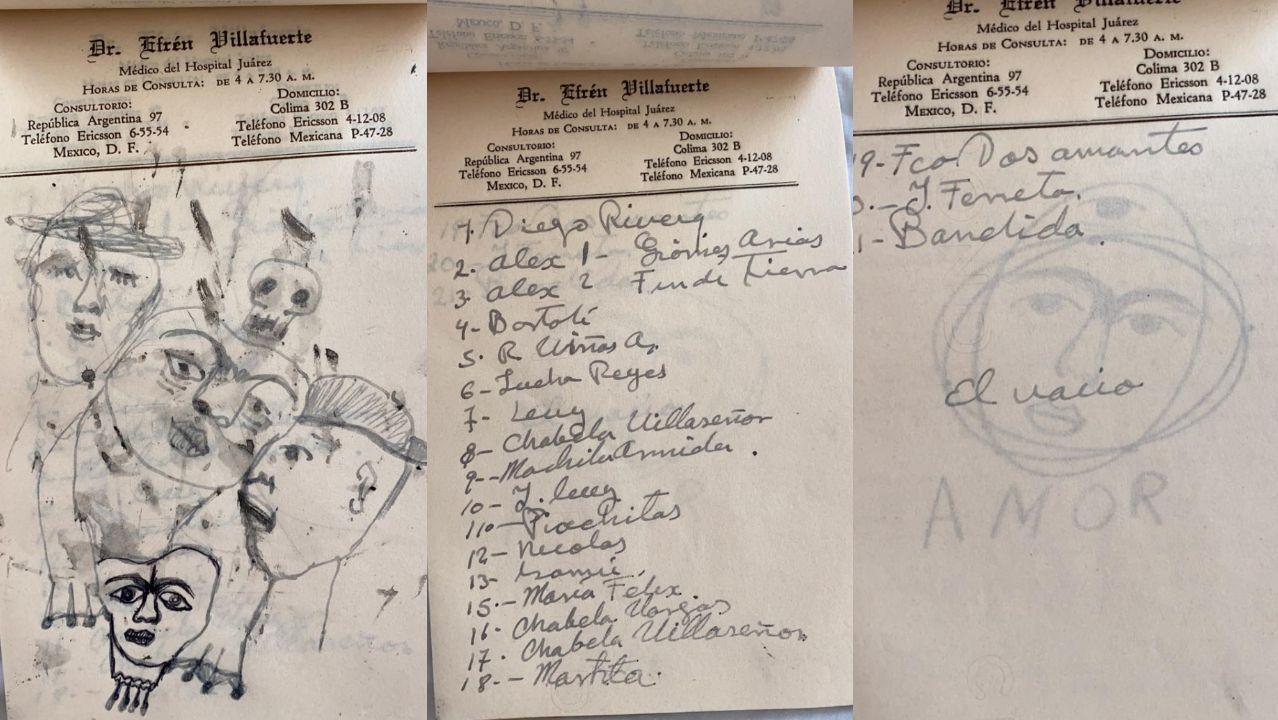 Composición con tres hojas del cuaderno con la lista de los veinte amantes más señalados de Frida Kahlo
