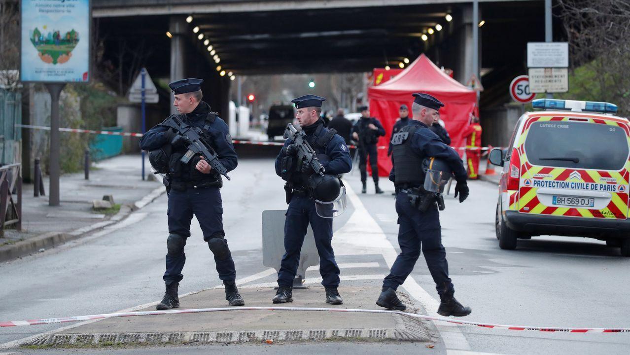 Control policial en la zona donde ocurrió el ataque