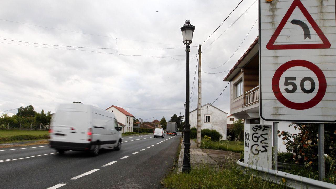 Vista de la N-634 en Guitiriz, cerca del límite de las provincias de Lugo y de A Coruña