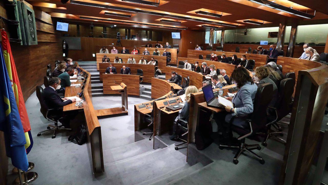 Vista del primer pleno de la Junta General del Principado en el que se recupera la presencia de los 45 diputados en sus respectivos escaños tras más de un año haciendo uso del voto telemático