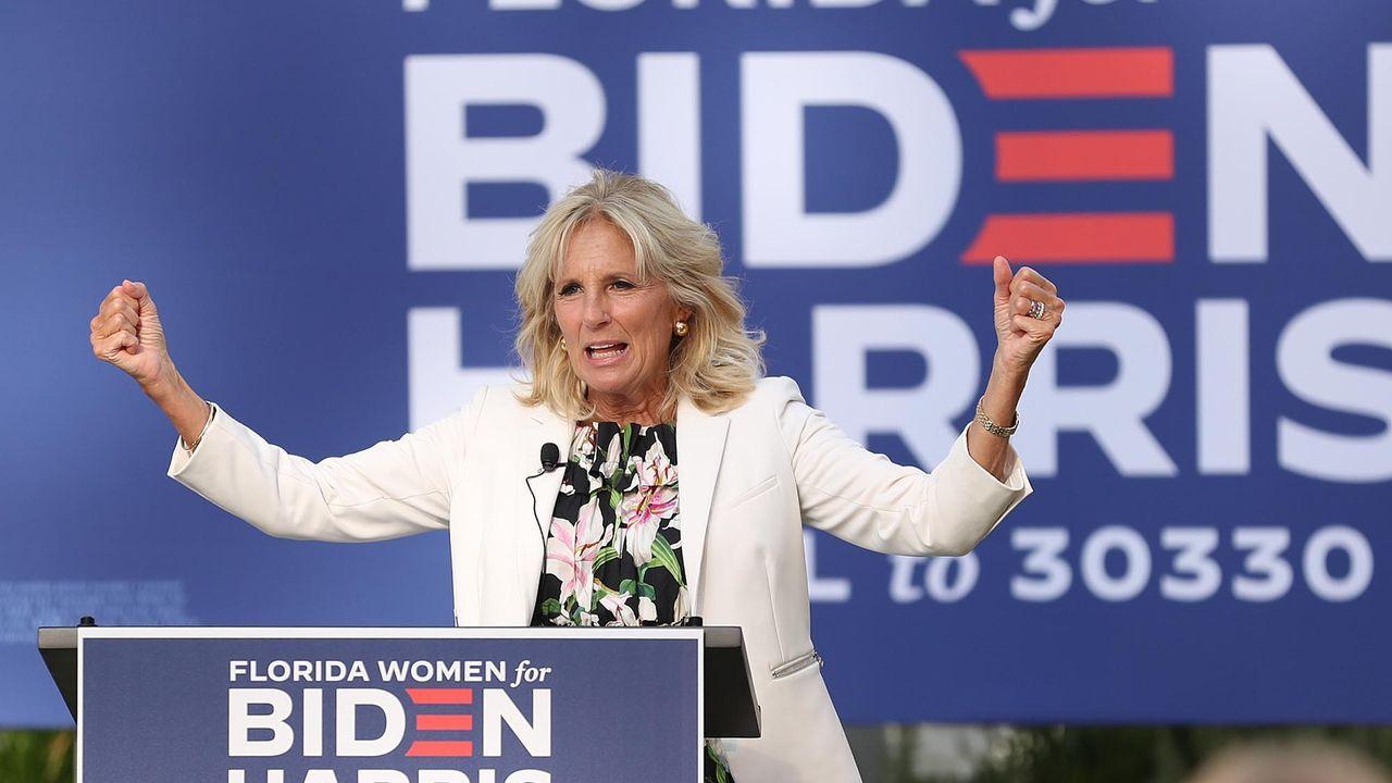 Jill Biden, la mujer del candidato demócrata a la Casa Blanca, durante un acto de campaña por su marido en Florida