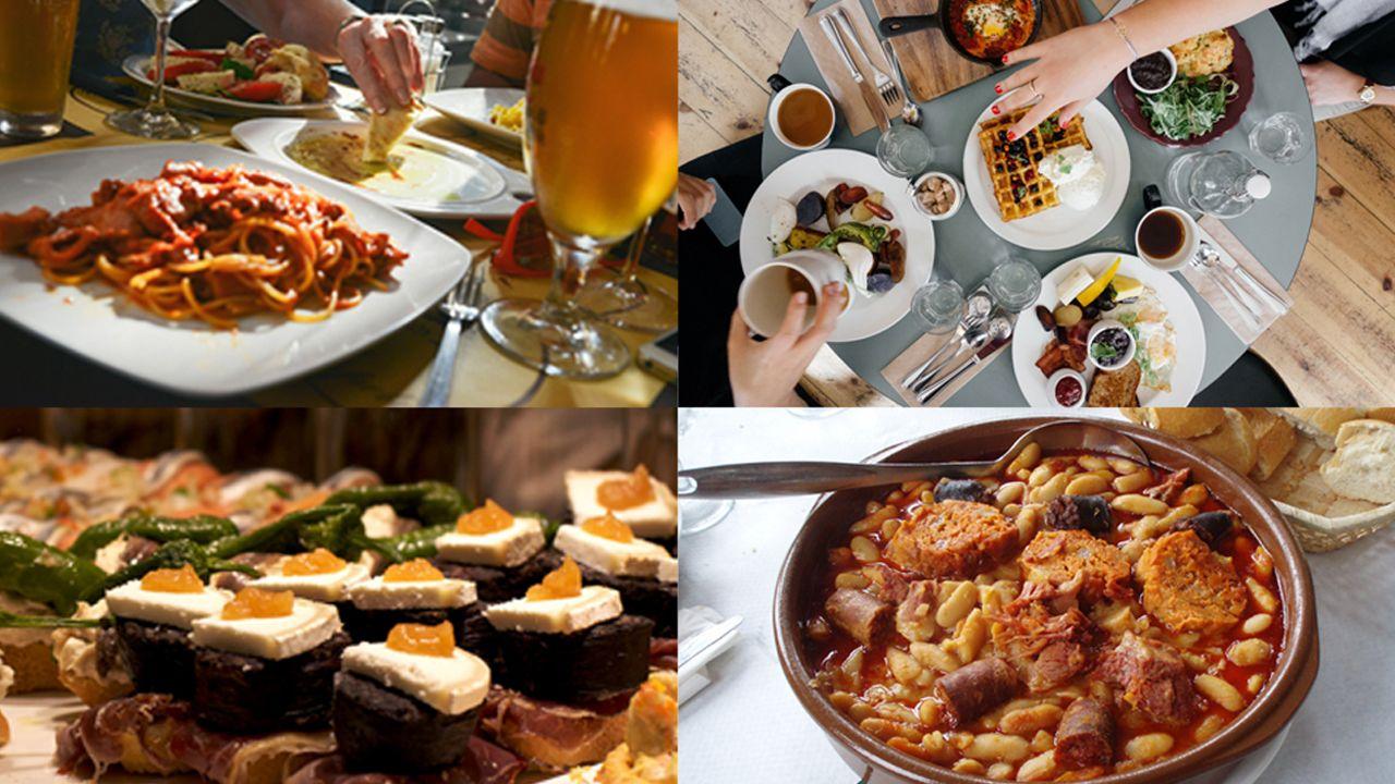 Composición con diferentes platos de comida.Bomberos en el incendio de Pola de Siero