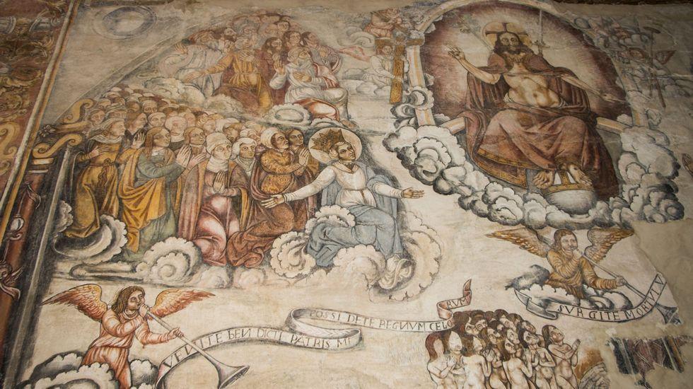 Representación do Xuízo Final presidada pola figura de Cristo en maxestade