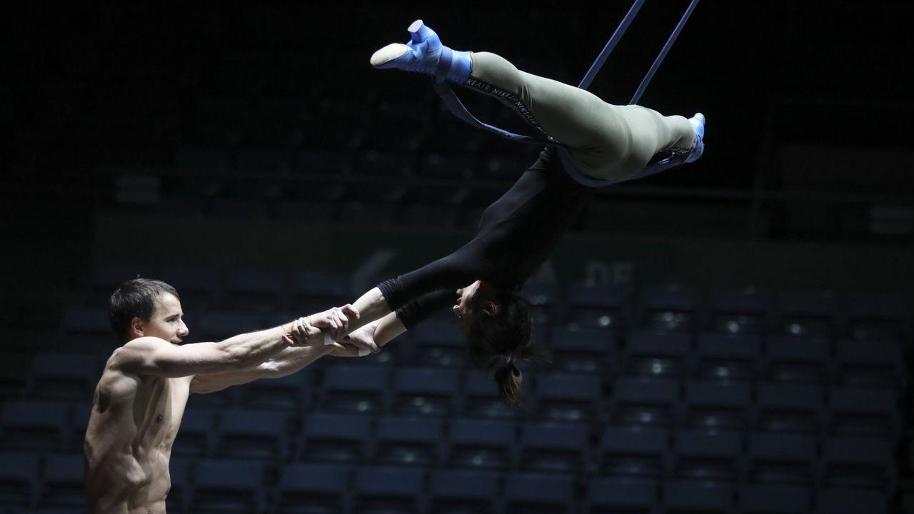 Ensayos del Circo del Sol en el Multiusos del Sar el pasado mes de febrero