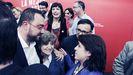 Adrián Barbón celebra la victoria electoral junto a Maria Luisa Carcedo y Adriana Lastra