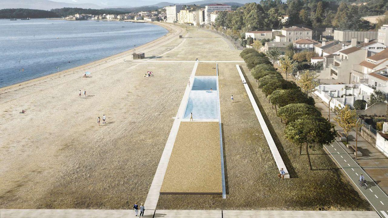 Así es el nuevo centro social de Cacheiro, en Pontevedra.Vista de la playa de vías de Gijón