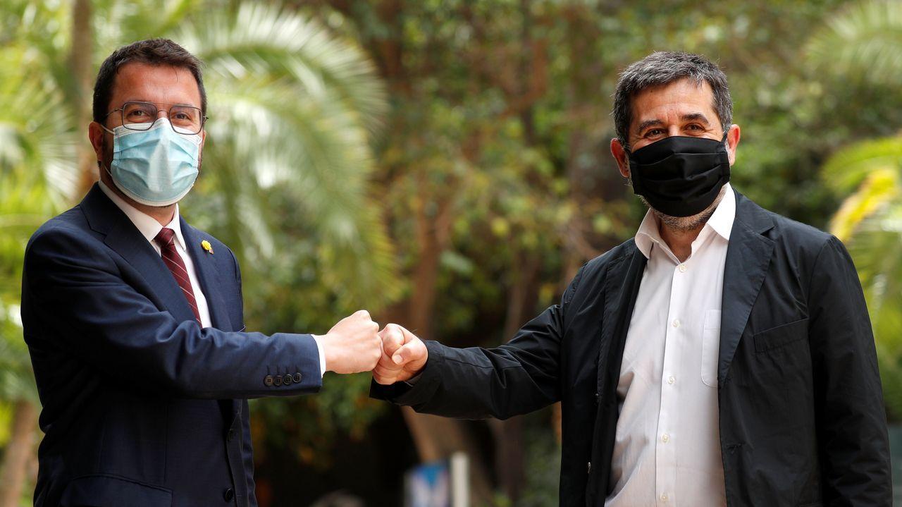 Pere Aragonès y Jordi Sánchez, esta mañana en Barcelona