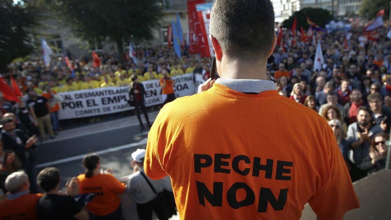 Manifestación contra el cierre de Alcoa en A Coruña