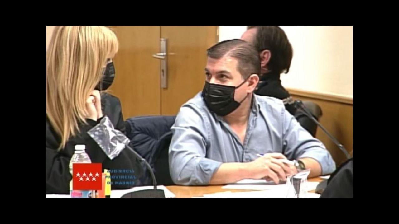 Captura de video del acusado César Román, el Rey del Cachopo, mientras comparece en una nueva sesión de su juicio por el asesinato de Heidi Paz, este jueves, en la Audiencia Provincial de Madrid