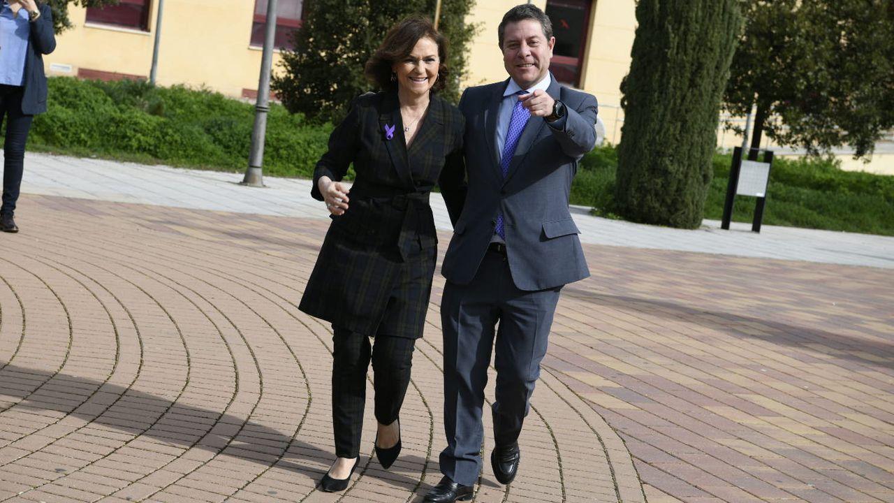 Comparecencia de Pedro Sánchez en el Congreso.Carmen Calvo y Emiliano Garcia-Page, este sábado, en Ciudad Real