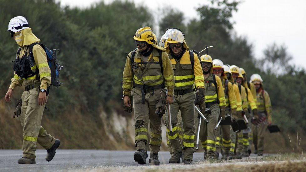 Tres brigadistas intetan extinguir el fuego