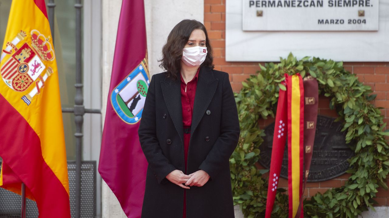 Pablo Iglesiasanuncia su marcha del Gobierno.Ayuso, hoy durante un acto solemne en homenaje a las víctimas del 11M