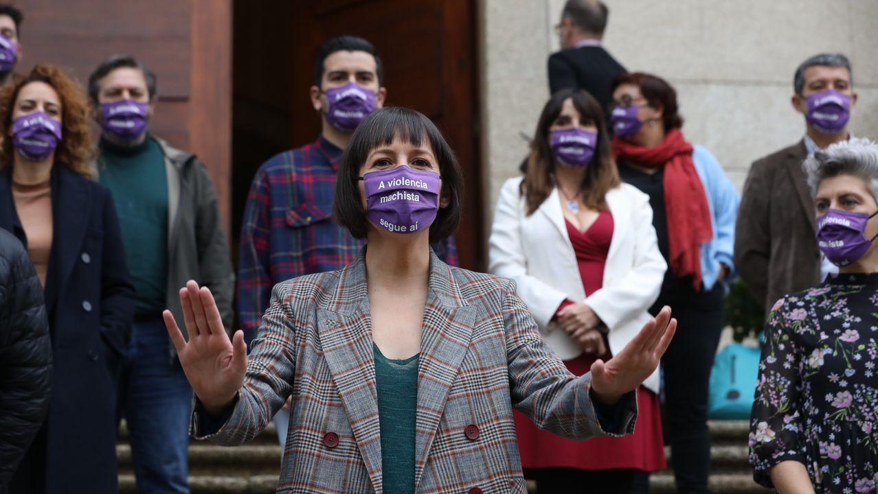 Concentración de diputados del BNG ante el Parlamento gallego por el día contra la vioelencia machista