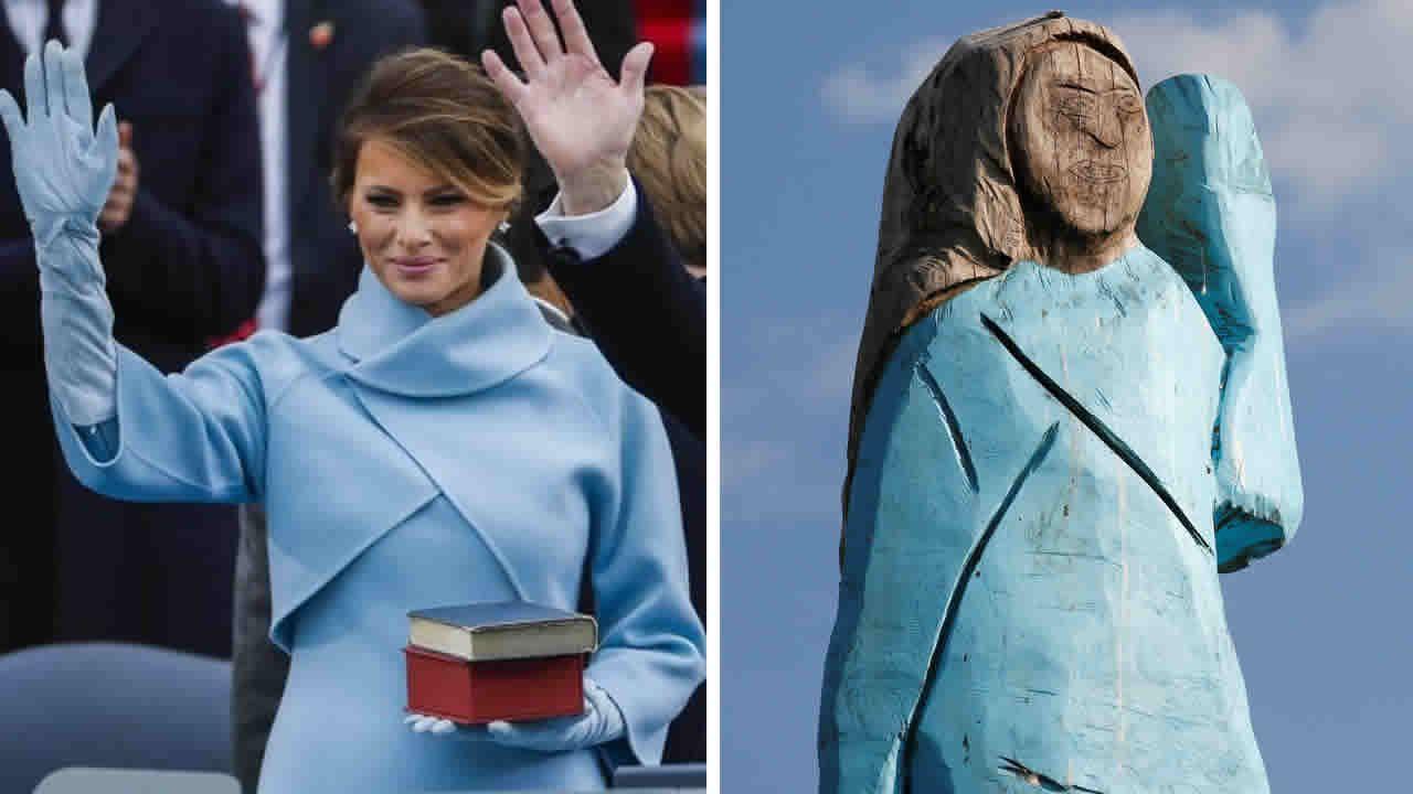 La escultura de Melania Trump en Eslovenia.Melania Trump difundió en su cuenta oficial de Twitter  la polémica imagen con el bebé que quedó huérfano en el tiroteo en El Paso