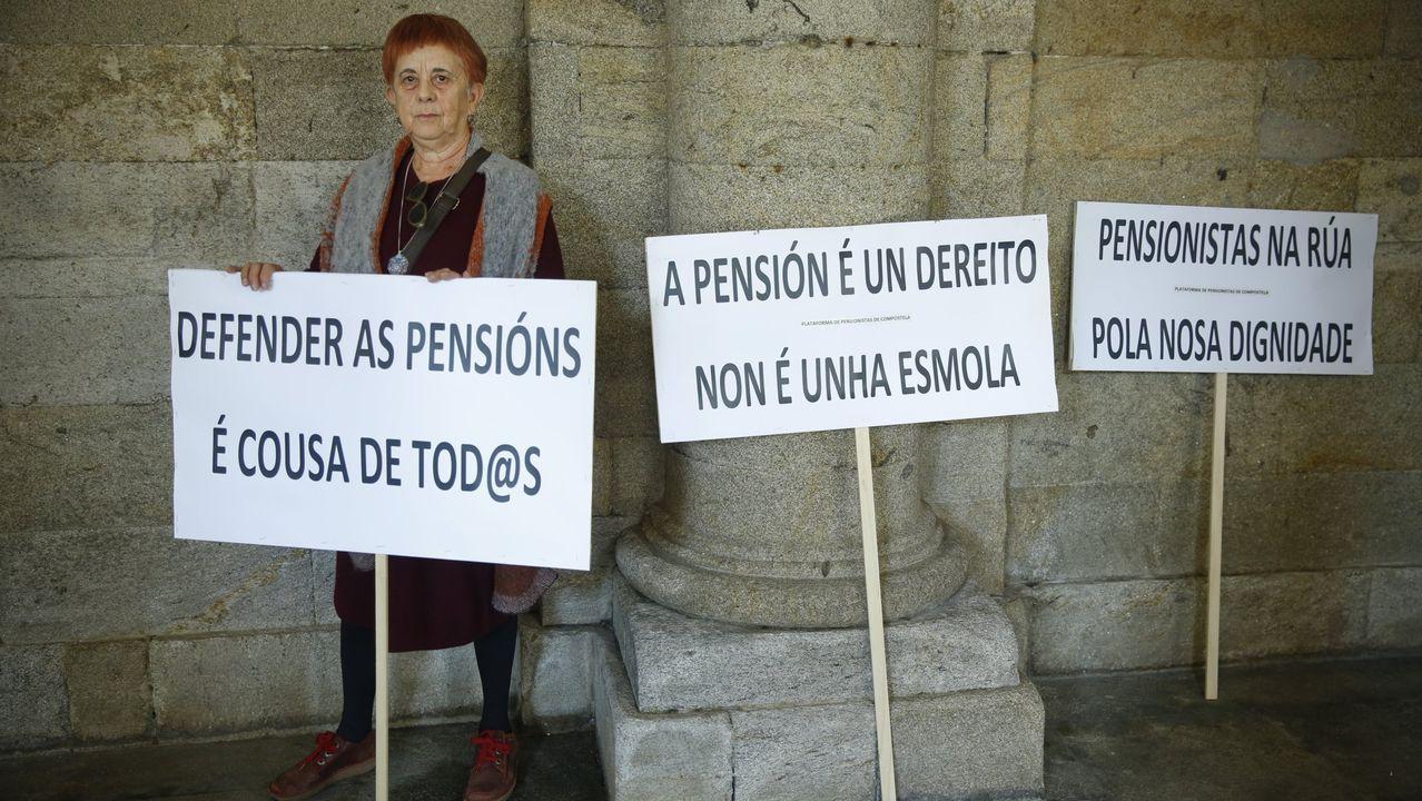Imagen de archivo de Manuela Fraguela, portavoz de la plataforma de pensionistas Compostela