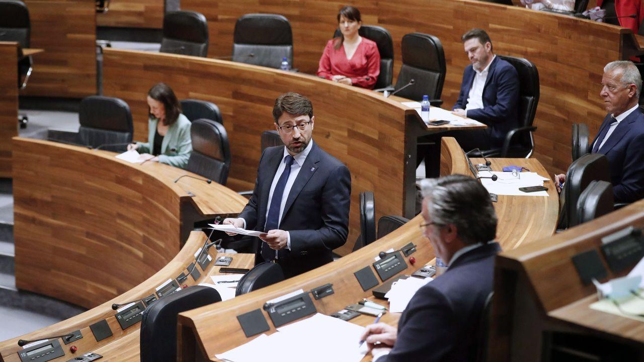 El consejero de Industria, Empleo y Promoción Económica, Enrique Fernández, responde a preguntas de la oposición durante el pleno de la Junta General.