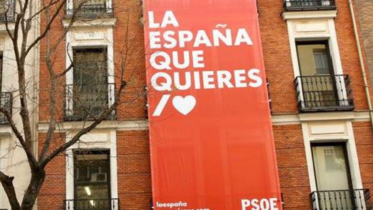 El lema de la campaña, en la sede del PSOE de Ferraz