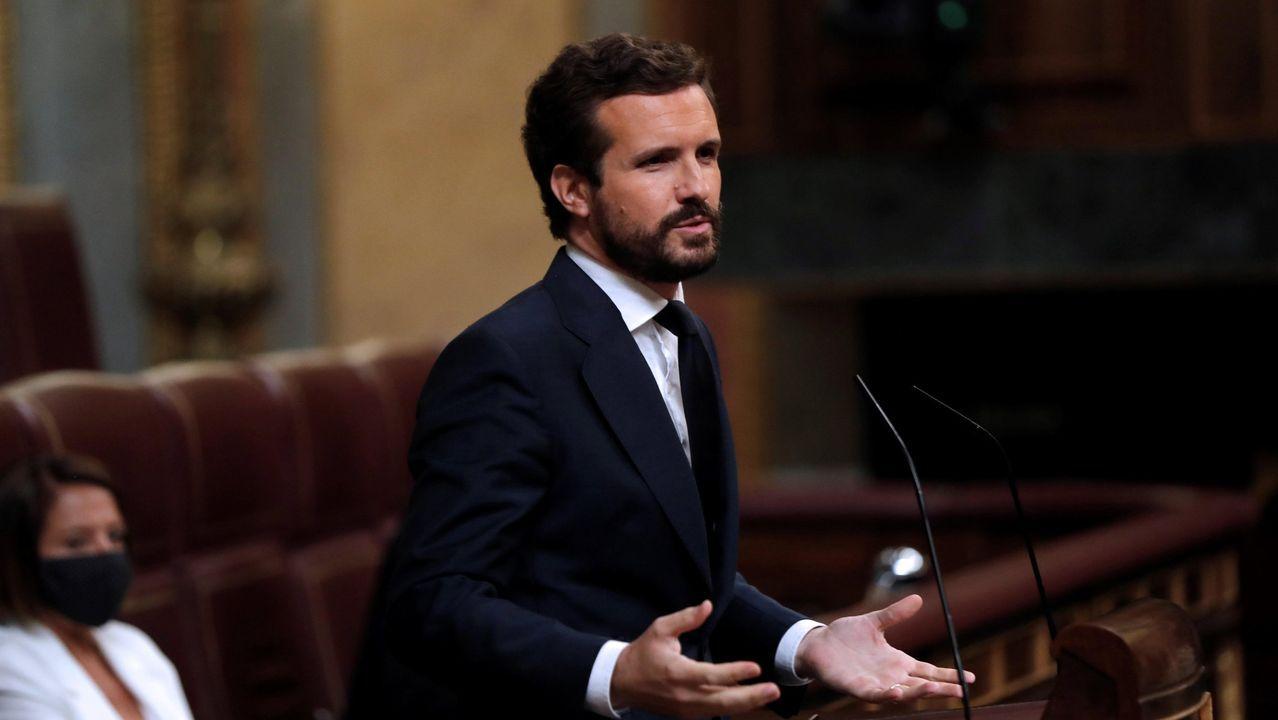 Rueda de prensa de Pedro Sánchez tras el Consejo de Ministros.Pablo Casado, durante una intervención en el pleno del Congreso