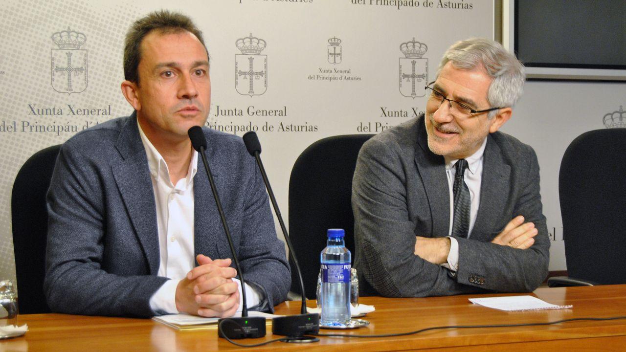 Ovidio Zapico y Gaspar Llamazares, en la sala de prensa de la Junta General del Principado.Ovidio Zapico y Gaspar Llamazares, en la sala de prensa de la Junta General del Principado