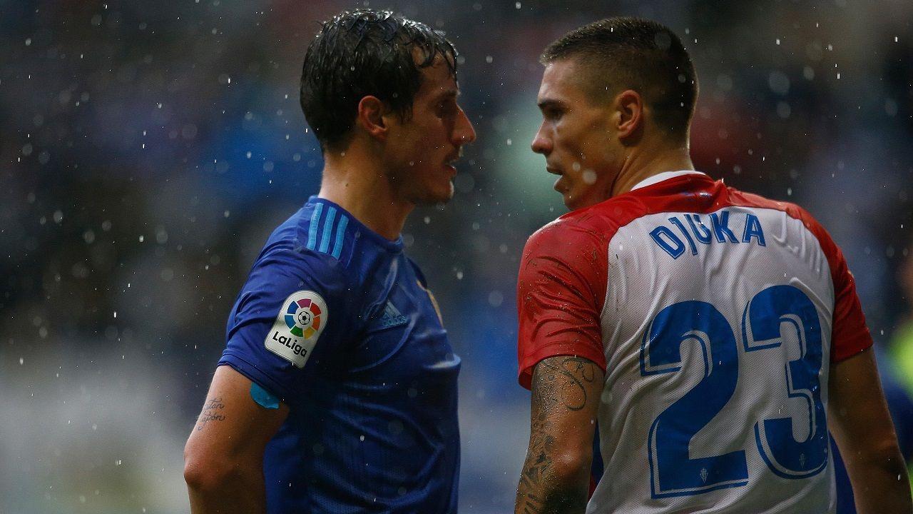 Christian Fernández y Djurdjevic en el último derbi jugado en el Tartiere