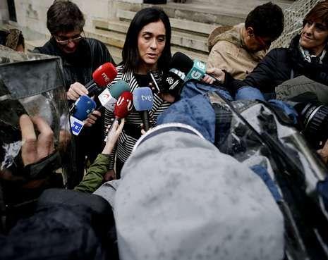 Paula Prado, ayer en A Coruña tras declarar ante el Tribunal Superior de Xustiza.
