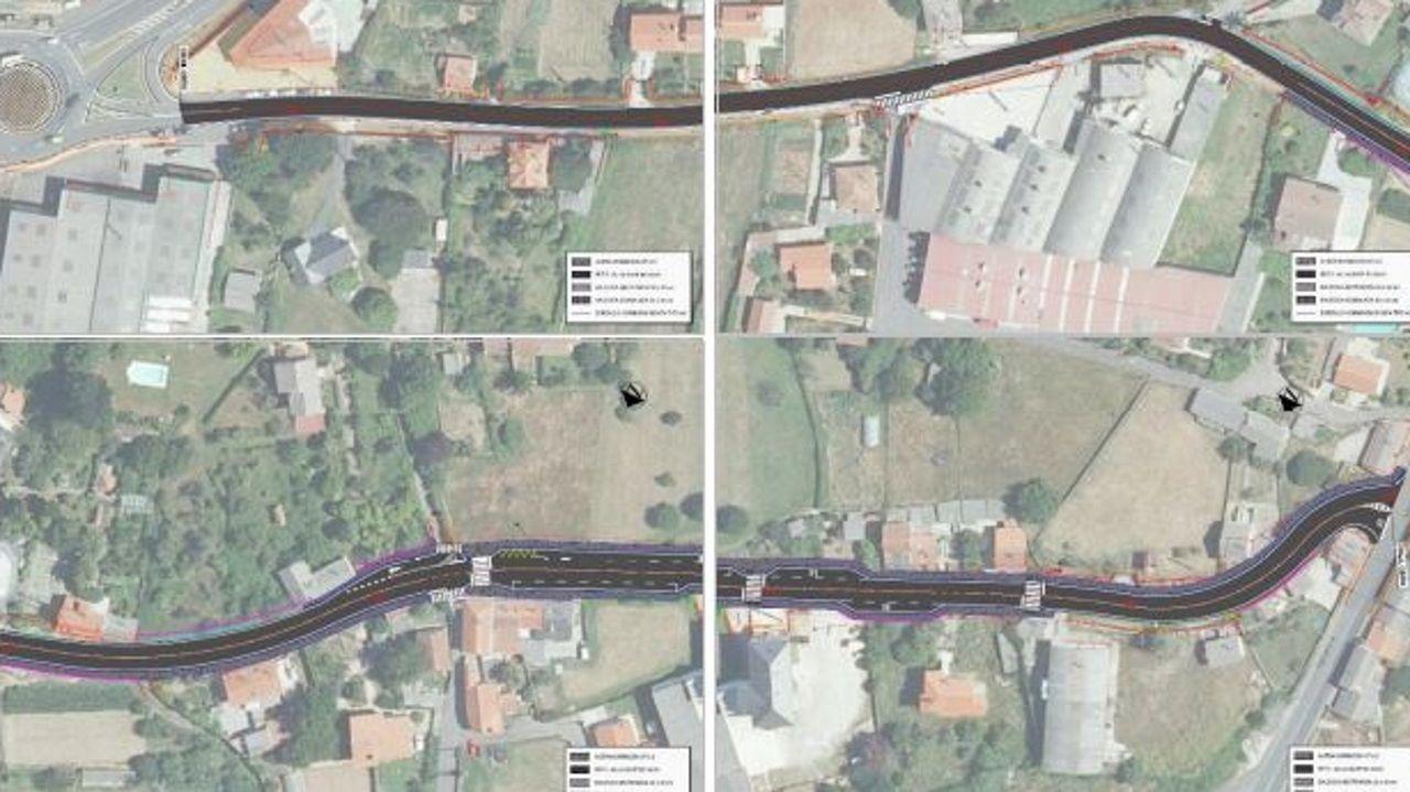 Planos de la nueva senda peatonal de Sigrás, en Cambre, de algo más de 720 metros de longitud