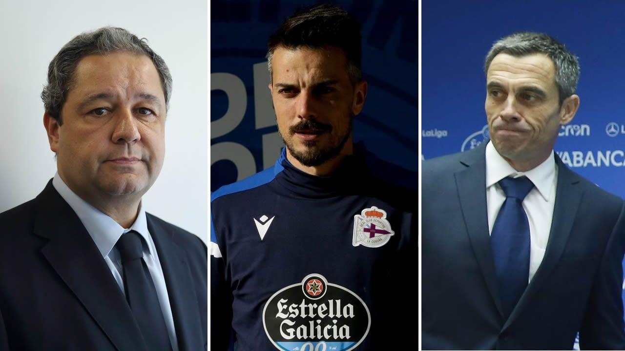A la izquierda, Borja Jiménez, que ha firmado por dos temporadas con el Dépor. A la derecha, Carlos Rosende, que asumió a principios de mes la secretaría técnica