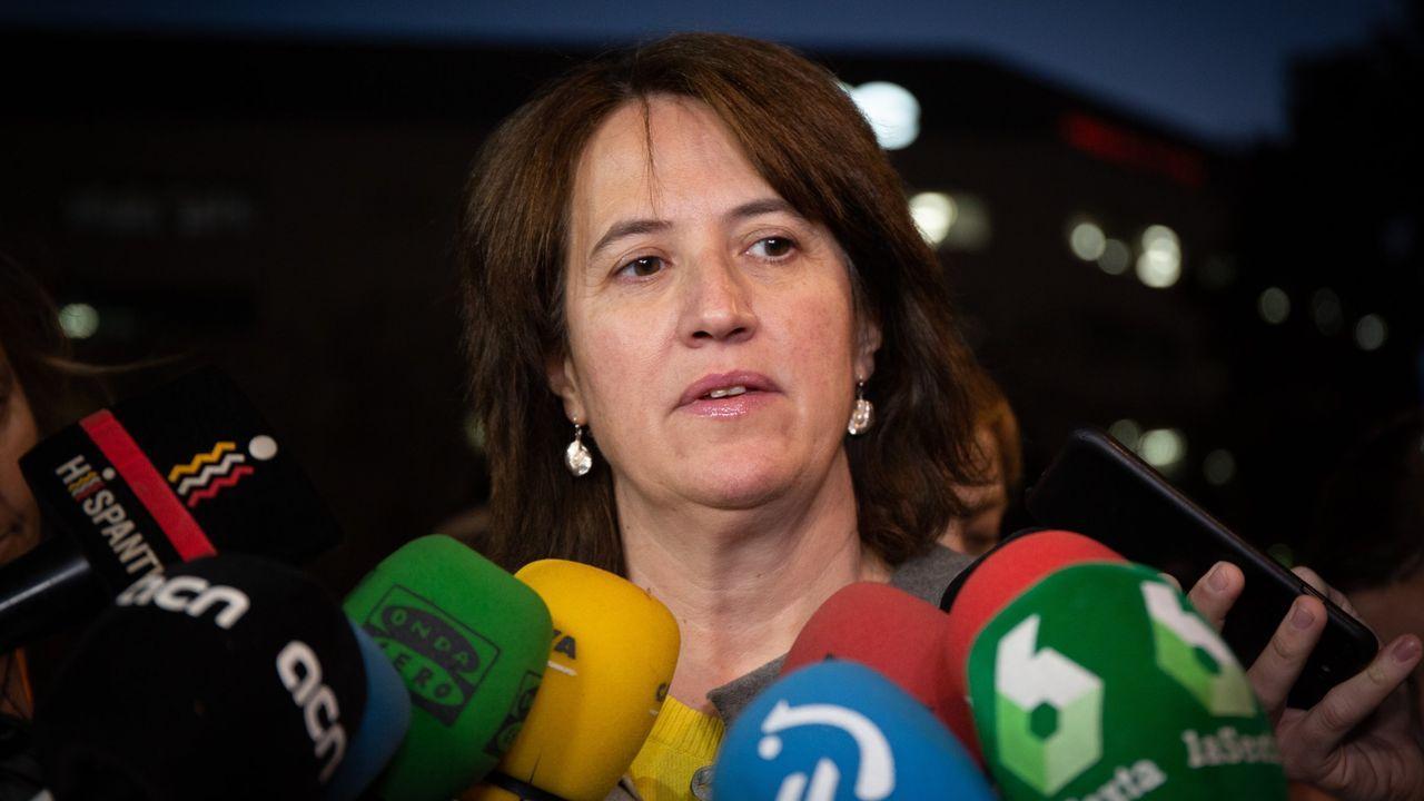 Protesta en la plaza de Colón contra los indultos a los líderes del «procés».Elisenda Paluzie, presidenta de la Asamblea Nacional Catalana (ANC)