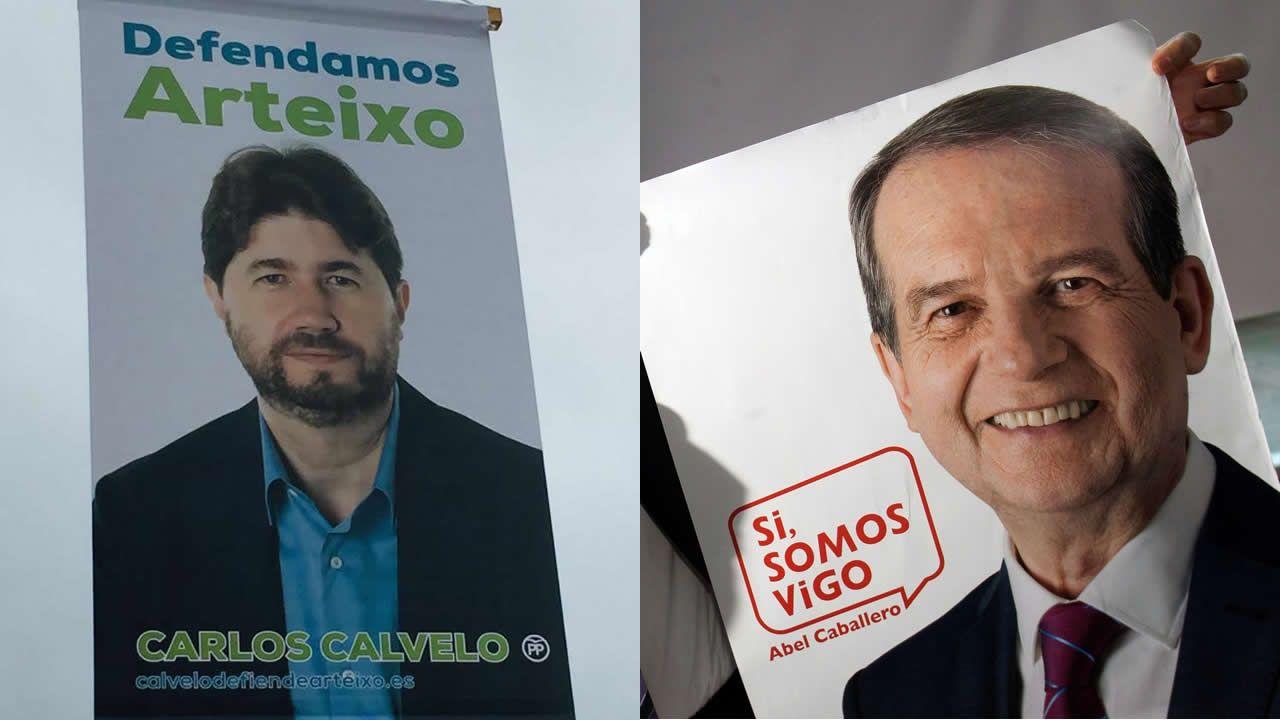 Los alcaldes de Ferrol, Santiago y A Coruña durante una comparecencia en 2016