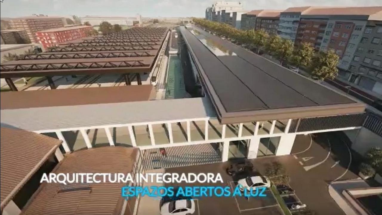 Así será la terminal de autobuses de la intermodal.Imagen virtual de la futura estación de buses en Urzaiz