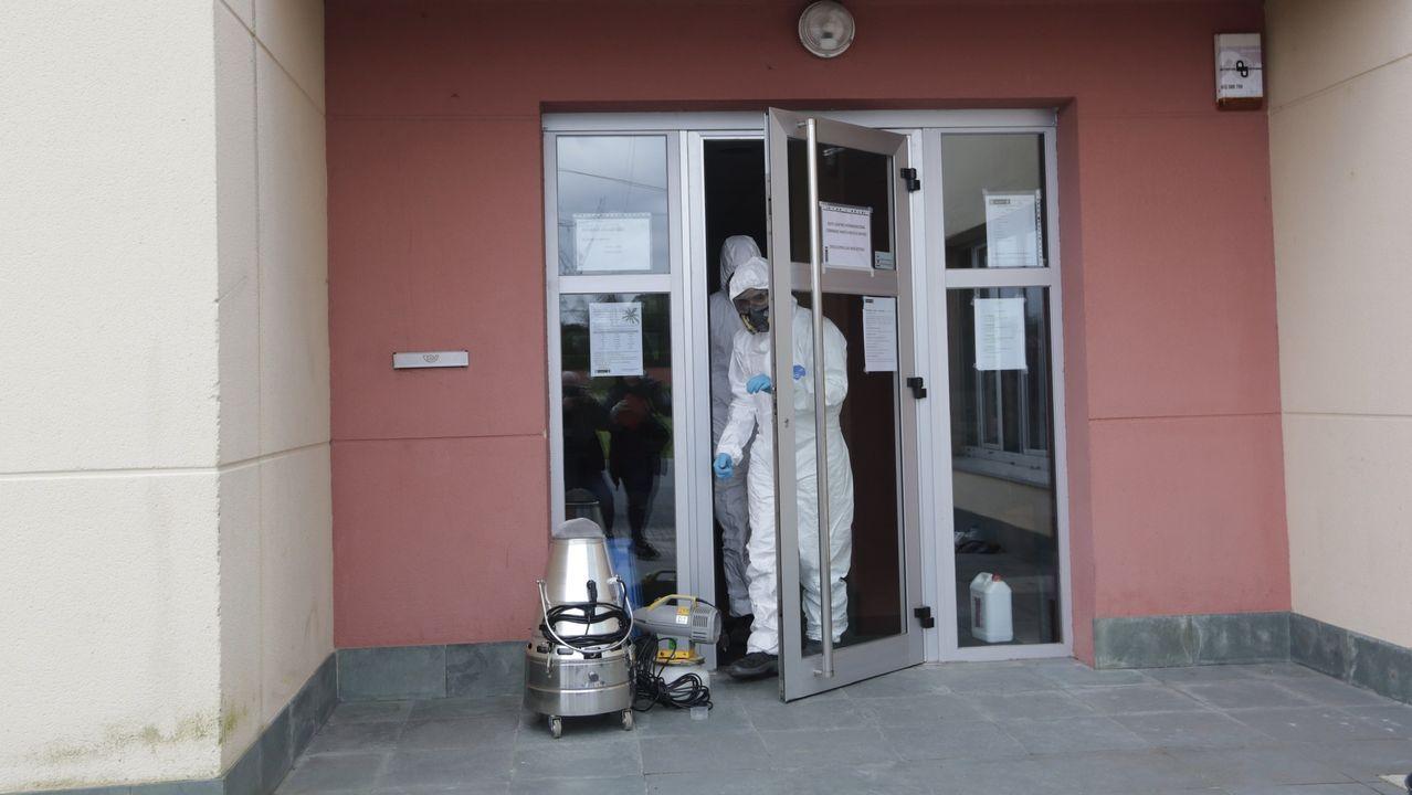 Centro Cívico de Feáns, en A Coruña, que ha sido cerrado y desinfectado