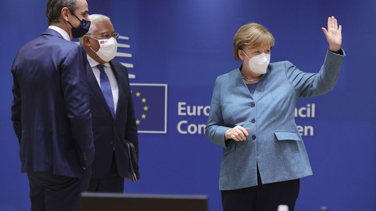 Merkel, con los primeros ministros de Grecia y Portugal