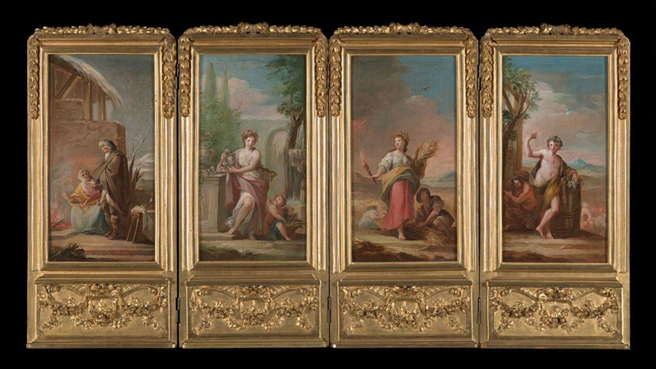 Biombo con cuatro imágenes de Las Cuatro Estaciones (1805), de Mariano Salvador Maella. Colección Villagonzalo