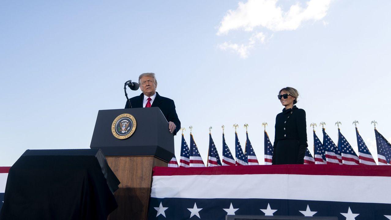 Donald Trump, durante su acto de despedida en la base militar de Andrews