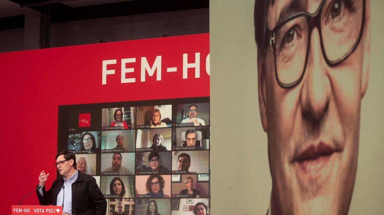 En directo: Protesta en Barcelona para pedir la puesta en libertad del rapero Pablo Hasel.Joan Canadell, número dos de la lista de Puigdemont, presentando en TV3 su mascarilla 100% catalana