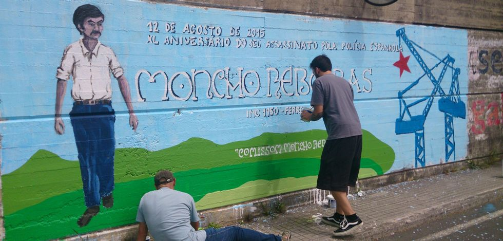 Durante la mañana se elaboró un mural conmemorativo en el barrio de Caranza.