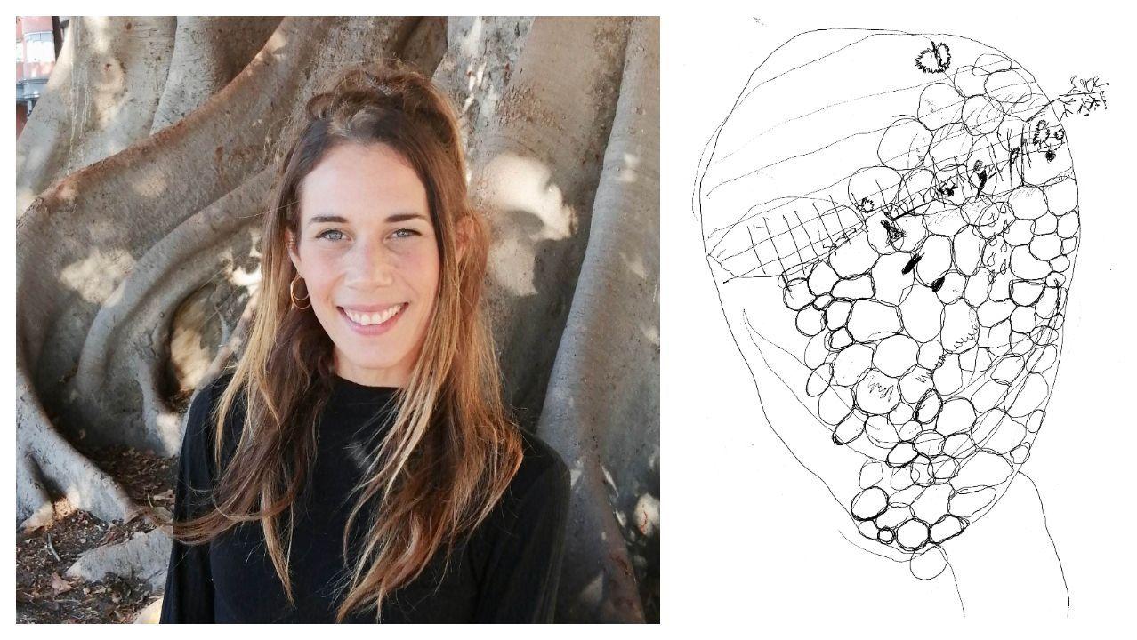 El 15 de noviembre del 2014 la madre de Rebeca Zurru sufrió un infarto cerebral. Este hecho fue decisivo en la génesis de su investigación sobre el arte como herramienta terapéutica en la rehabilitación de personas con ictus. A la izquierda, fotografía de la autora. A la derecha, dibujo de la madre realizado en el curso de la investigación