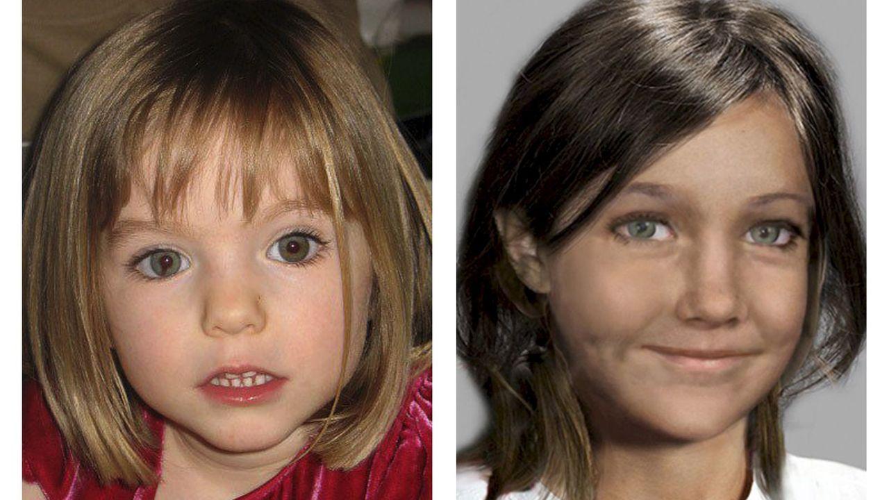 Combo fotográfico con la imagen de la pequeña cuando desapareció en 2007 (estaba a punto de cumplir 4 años) y otra imagen incluida en un vídeo distribuido por el Centro de Explotación del Menor y Protección por la Red (Ceop, siglas en inglés) con una recreación de cómo podía estar dos años después de desaparecer