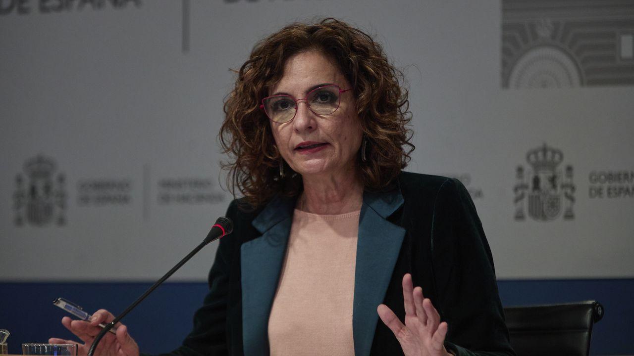La ministra de Hacienda, María Jesús Montero, durante la rueda de prensa