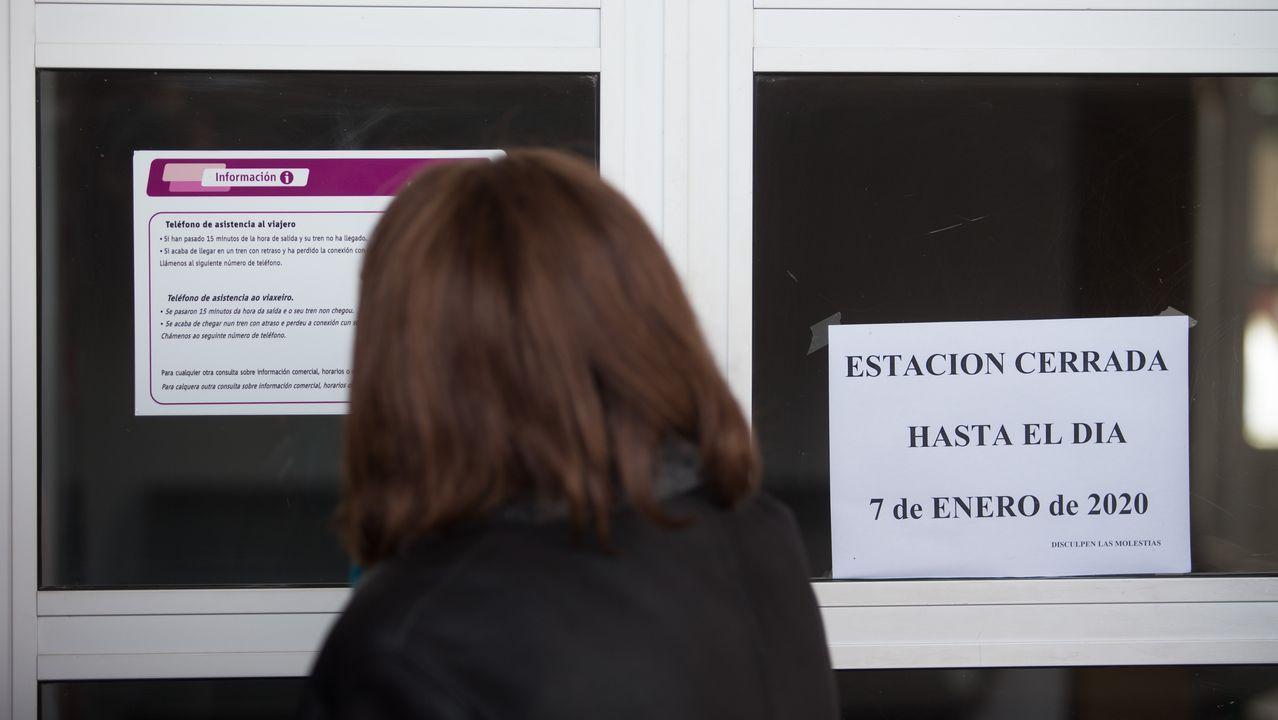 Una usuaria habitual consulta los letreros de la estación de Sarria