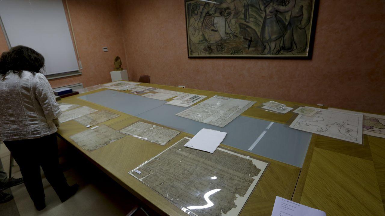 Varios pergaminos dispuestos por los técnicos del Arquivo do Reino