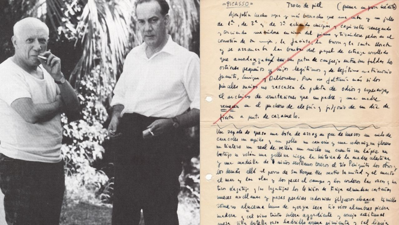 Retrato de Picasso y Cela en 1958; a la derecha, transcripción por el escritor de un poema en prosa, «Trozo de piel», del pintor