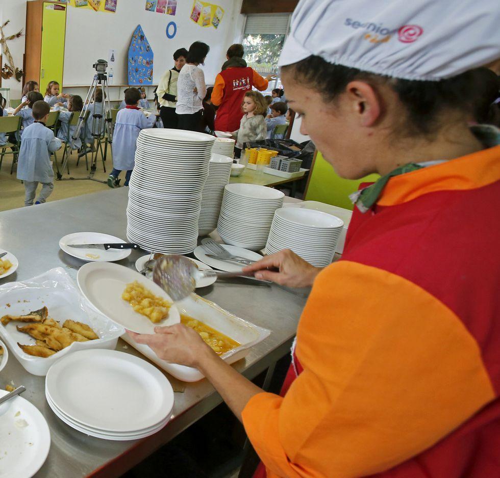 Comedor del colegio de Campolongo, que se gestiona desde la Fanpa, esta semana.