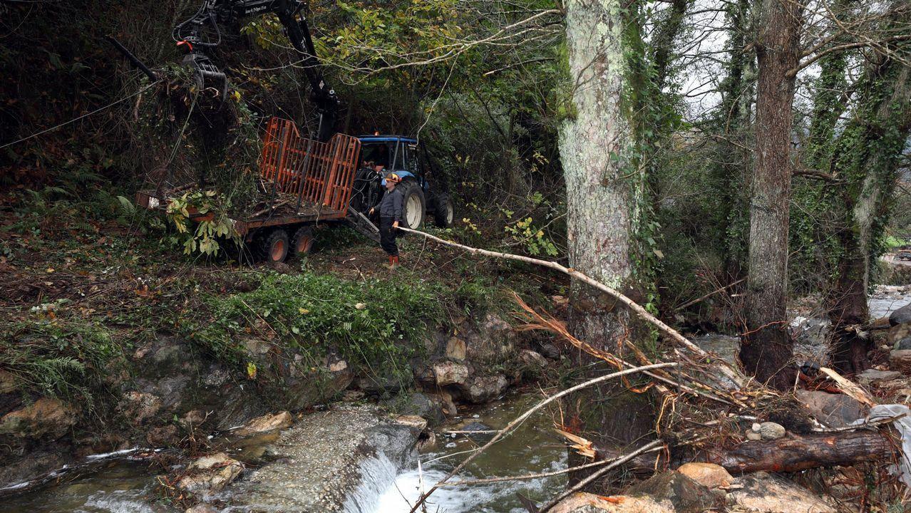 Limpieza del río tras las inundaciones que sufrió Viveiro en noviembre