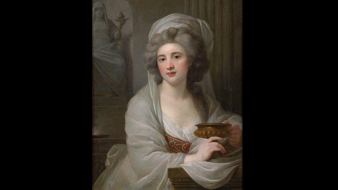Retrato de la condesa Sophie de Witt, luego Potocka, como vestal. De Giovanni Battista Lampi. Colección Villagonzalo
