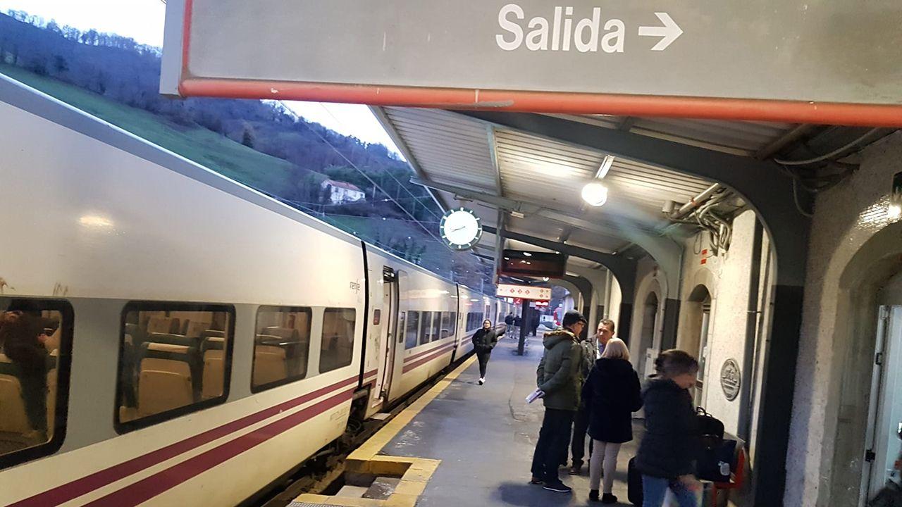 Obras en la variante de Pajares.El tren de Asturias a Madrid para en Campomanes por una avería en la catenaria