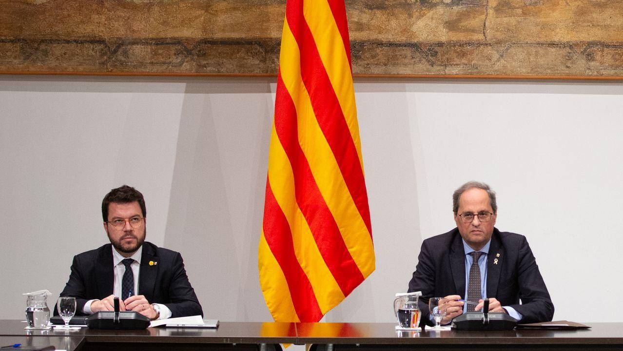 Rueda de prensa de Feijoo tras la reunión interdepartamental del coronavirus.Aragonés (ERC) y Torra (Junts), durante una reunión de gobierno de la Generalitat